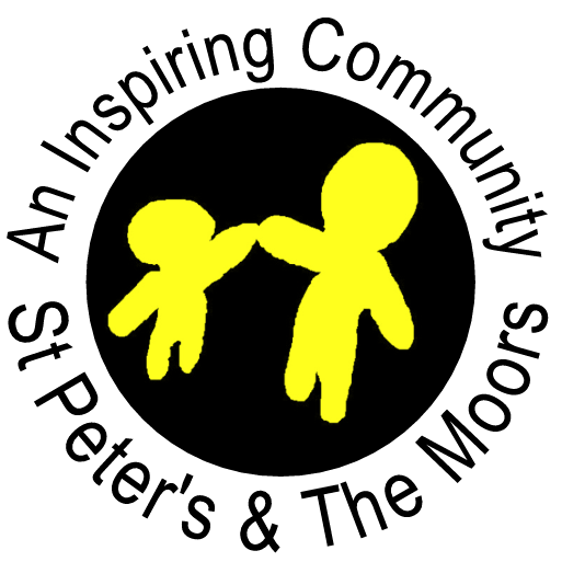 St Peter's & TheMoors Big Local Logo. Two stick people in yellow holding hands on a black circle background.